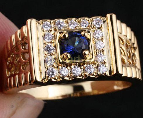 Позолоченное кольцо-печатка с сапфиром и бриллиантами
